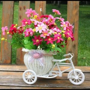 New Bicycle Wicker Flower White Basket